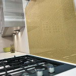 Inspire Brass Glass Splashback, Metallic