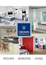 graphic of Crown kitchen, bedroom and living brochure front cover